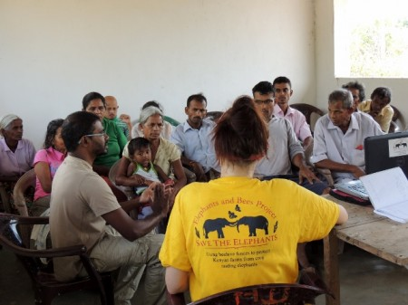 Kylie conducting focal group meetings to discuss beehive fence concept