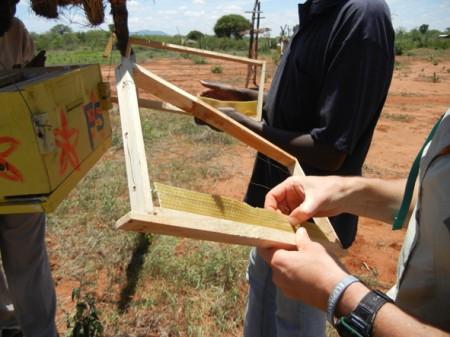 Fixing wax in hive