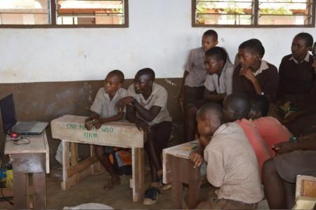 School children watching 'A Gift from the Elders'