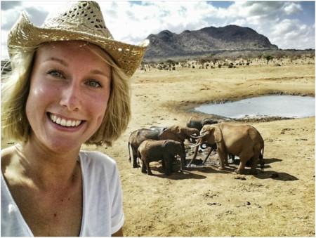 Mikki with elephants (s)
