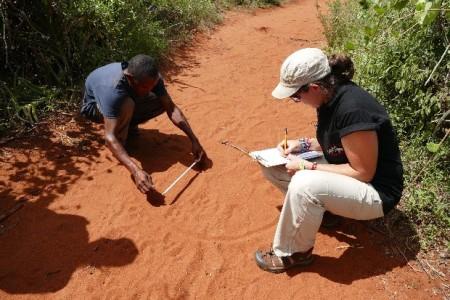 Lucy and Nashon measuring elephant footprints
