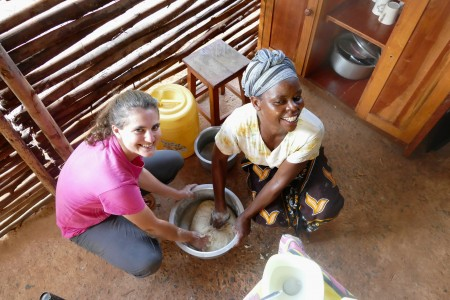 Josephine showing me how to make chapattis