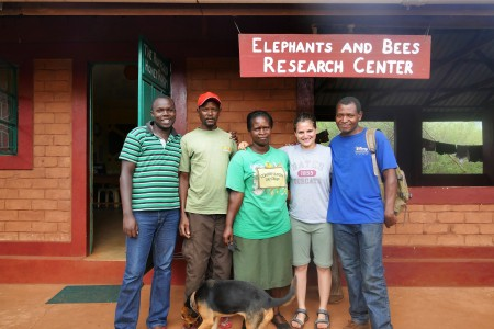 Me with he Elephants and Bees project team, Patrick, Nzumu, Grace , me and Emmanuel