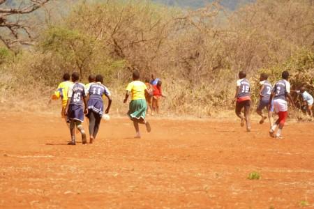 Kileva school children playing football match
