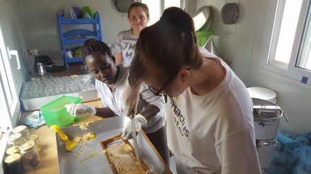 The team in the honey harvesting room uncapping the capped honey.