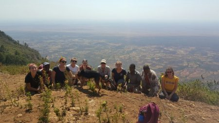 Group photo at the top of Sagalla hill with Tsavo East NP in the distance
