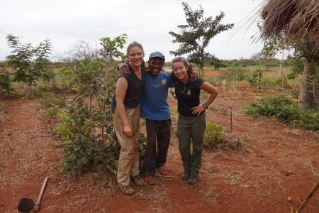 Victoria, Paul and I in the E&B permaculture garden