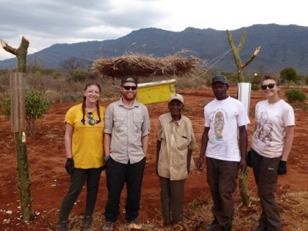 Nzai and the team that helped to rebuild his beehive fence (From left - Emma, Nathan, Nzai, Nzumu, Lauren)
