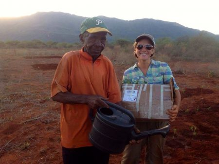 Our farmer Illeli and I posing after planting moringa trees for Sophia's project.